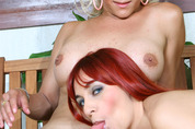 Cinthia & Sheyla down n' dirty on a tranny scene
