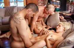 Group sex errupts in the living room