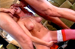 Young redhead takes it rough from 2 guys